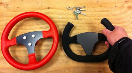 Open top steering wheel